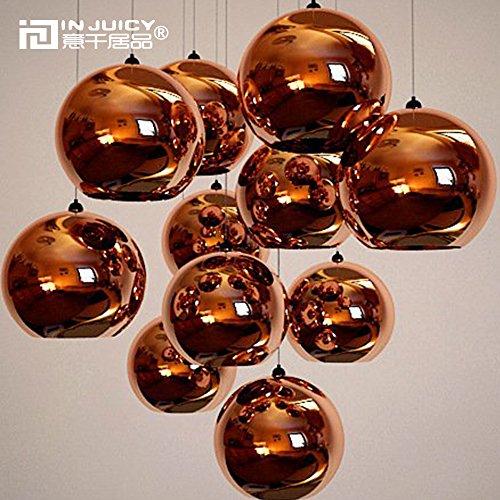 Injuicy Lighting Tom Dixon Lampada a sospensione, sfera in vetro dorato, attacco E27, per sala da pranzo, bar, hotel, corridoio, ristorante, colore rosa dorato, rose gold, Dia. 300mm 60.00 watts