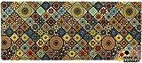 matches21 Küchenläufer Teppichläufer Teppich Läufer Marokko Fliesen Mosaik blau orange 50x120x0,4 cm maschinenwaschbar