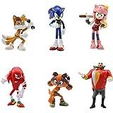 Sonic Cake Topper - WENTS Sonic Mini Juego de Figuras Niños Sonic Mini Juguetes Baby Shower Fiesta de cumpleaños Pastel Decor