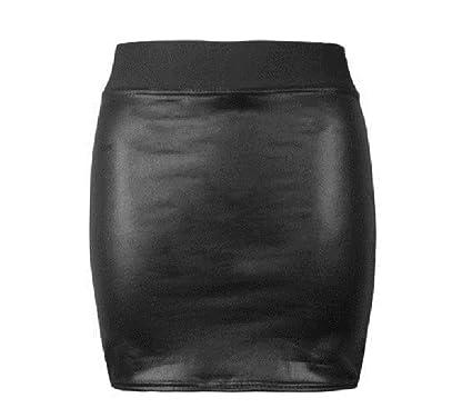 New Ladies Girls Black Wet Look Shinny Faux Leather Short Pvc Mini Skirt UK 8-14
