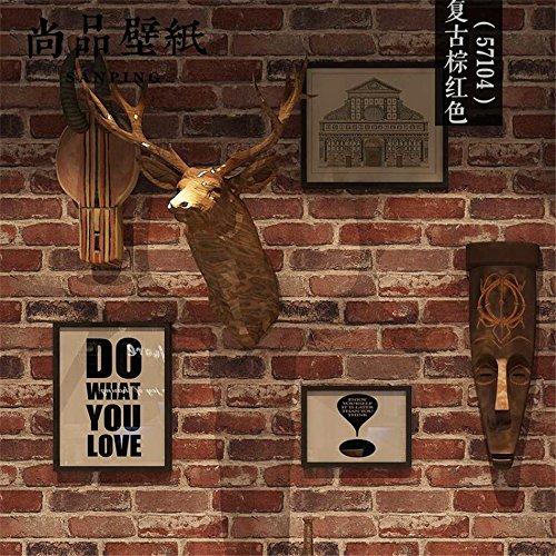 Xzzj Retro 3D-Modellierung Brick Brick Brick Wall Paper Cafe Bar Und Restaurant Kultur Stein Red Brick Wall Paper, Rötlich Braun Retro Ziegel (Papier-modellierung)
