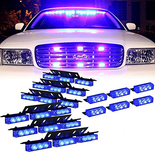 Generic 72 X Ultra LED luminoso di emergenza Attenzione Usa lampeggiante strobo barra per parabrezza Dash Grille (Colore:Blu) - B / N Luce Di Emergenza