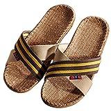 Zapatilla de estar por casa de lino natural con cinta cruz unisex para verano,primavera,otoño (42-43, Marrón)