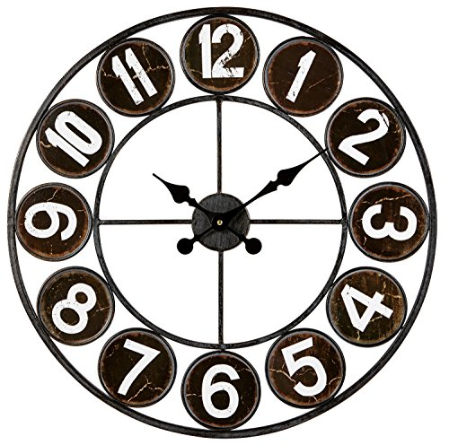Emotion 34550 Horloge 60 cm Métal, Noir, 60x60x5,5 cm