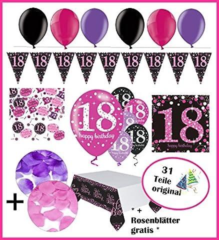Komplette FesteFeiern® Dekoration zum 18. Geburtstag   Geburtstags Deko 18   31 Teile pink schwarz violett mit Luftballon   Party Deko Set happy birthday