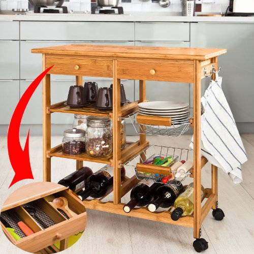 SoBuy XXL Servierwagen aus hochwertigem Bambus,Küchenwagen,Küchenregal, FKW (B72xT37xH75cm FKW06-N)