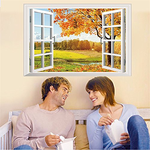 n für Halloween 3D (Herbst) Wand Landschaft/false Windows/Schlafzimmer/Wohnzimmer/Bett/Hintergrund/Wand/Deko/Aufkleber/PVC (85 * 57 cm) (Halloween-herbst-hintergründe)
