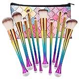 NEEDOON 10 Stücke Makeup Pinsel Set Pulver Foundation Eyeliner Augenpinsel Lidschatten Gesichtspinsel Blush Pinsel mit Kosmetik Tasche,A