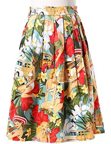 Belle Poque Retro Dress Damen Empire Rock Mehrfarbig - Floral 5