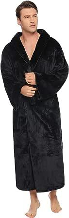 Vlazom Men Dressing Gown, Hooded Warm Robes Flannel Soft Bathrobe Fluffy Housecoat for Winter