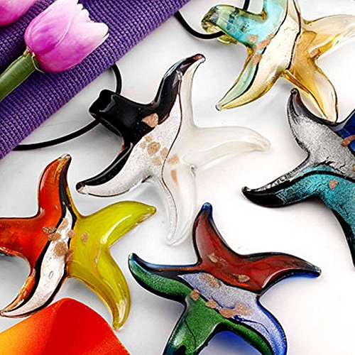 5X Colgante Collar Estrella del Mar Cristal Murano 55mm