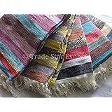 Comercio Star Tamaño Grande de Tela tejida a mano 4x 6, indio área de alfombra Runner, Chindi Alfombra de trapo, Oriental Dhurrie, decorativo Felpudo