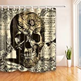 GuDoQi Skull Shower Curtain Polyester Fabric Waterproof Mildew-Resistant Colorful Polyester Fabric With hooks for Bath Decorations