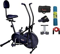Lifeline Exercise Air Bike Cycle for Home Use | Bundles with Back Support, Yoga Mat (6 MM) and Accessories (5 Items)