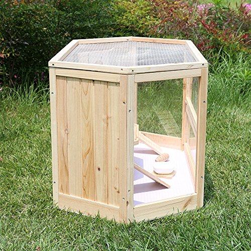 Songmics Hamsterkäfig holz XXL 115 x 60 x 58 cm mit klappbarem Deckel, Stöckchen zum Nagen, Futterschale PHC001 -
