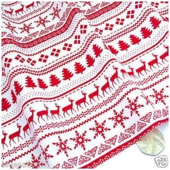 Stoff Baumwolle Dekostoff Hirsche Rentiere Trachtenstoff natur rot Kleiderstoff