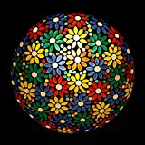 Earthenmetal Handcrafted Flower Design Decorated Mosaic Glass Ceiling Light