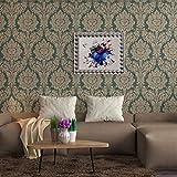 #5: Wallpaper 4 Less Golden Green Damask wallpaper-57sqft