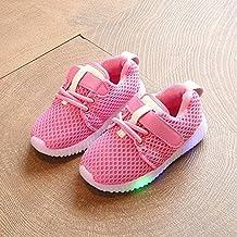Ecotrumpuk Bebe Zapatos Casuales de Deportes Ligeros LED de Malla Transpirable Luminosa Antideslizante