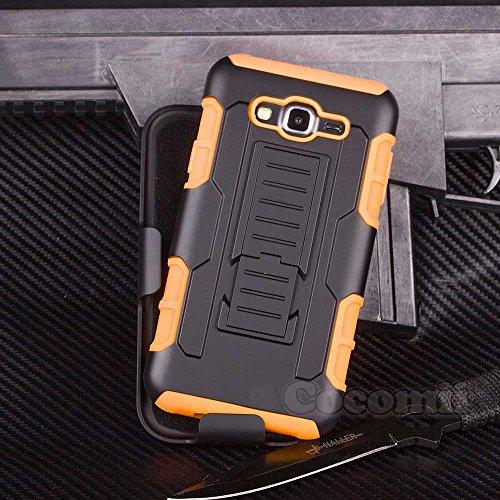 Cocomii Robot Armor Galaxy Core Prime/Win 2/Prevail Hülle [Strapazierfähig] Gürtelclip Ständer Stoßfest Gehäuse [Heer Verteidiger] Case Schutzhülle for Samsung Galaxy Core Prime (R.Orange)