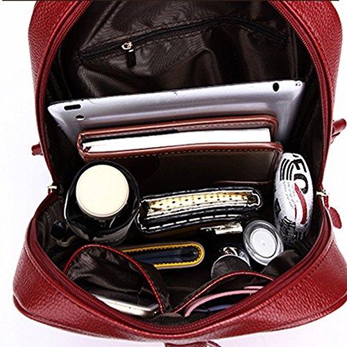 Zicac Dame Kunstleder Rucksack Hochschule Studentin Reise Tasche Camping Schulterbeutel Schulrucksack Outdoor Freizeit Daypacks (schwarz) rot