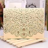 CanVivi 25er Einladungskarten Für Hochzeit Geburtstag Taufe Blumen Lasercut Design Spitze inkl Umschläge und Aufkleber