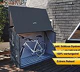 Trimetals Gerätebox, Aufbewahrungsbox, Multifunktionsbox, Fahrradbox Sesame Anthrazit 185x76x139 (LxBxH); Wasserdichte Multibox