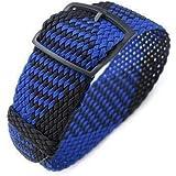 Cinturino per orologio in tessuto Strapcode 20, cinturino per orologio MiLTAT in tessuto 22mm, nero e blu, fibbia scorrevole