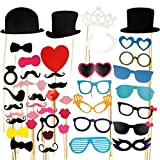 Yahee 44 Tlg. Party Foto Verkleidung Schnurrbart Brille Photo Booth Props Set Fasching