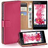 Sony Xperia M2 Hülle Pink mit Karten-Fach [OneFlow 360° Book Klapp-Hülle] Handytasche Kunst-Leder Handyhülle für Sony Xperia M2/M2 Dual/M2 Aqua Case Flip Cover Schutzhülle Tasche