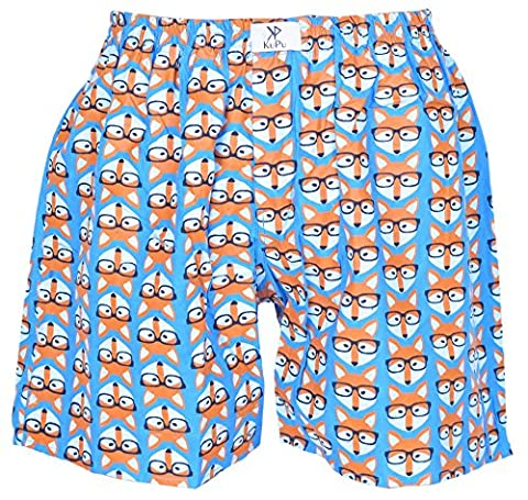 Luxury Men's 100 % Finest Cotton Boxer Shorts/Underwear/Trunks With Exclusive Prints. Available in a Vibrant Array of Designs/Prints, Gift able Box (Fox,S)
