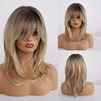 HAIRCUBE Parrucche bionde ricce lunghe Parrucche sintetiche a spalla per donne con frangia 18 pollici Radice scura…