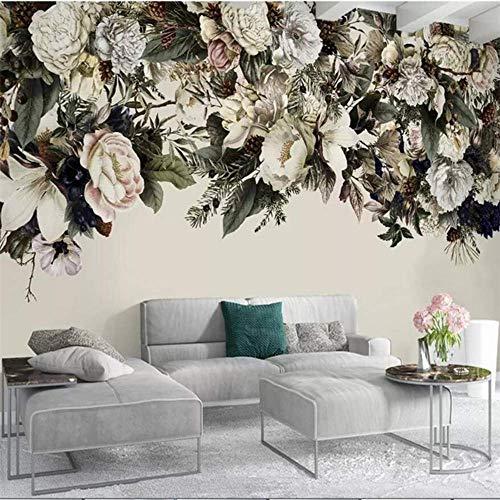Retro-moderne-tapete (Yologg Amerikanische Blumenhintergrundwand Der Modernen Unbedeutenden Nordischen Retro- Blume Kundenspezifische Große Wandgrüntapete-120X100Cm)