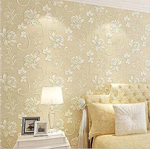 Fond d'écran non-tissé moderne simple Damas 3D 3D décoration stéréo décoration chambre à coucher TV mur vitre-papier peint -53cm (W) * 10m (L) , cream color