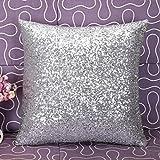 TWIFER Einfarbig Glitter Pailletten Kissenbezüge Dekokissen Fall Cafe Home Decor Kissenhülle (Silber, 40 x 40 cm)