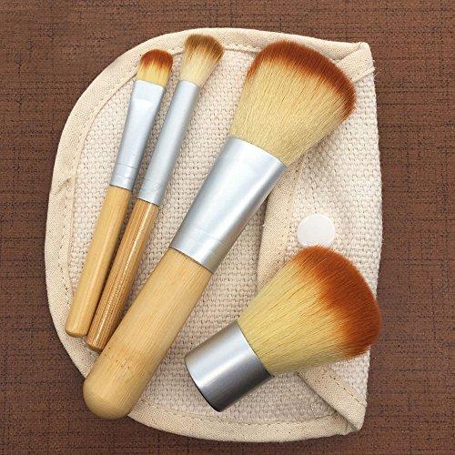4 Manches En Bambou + Petits Sacs Set De Pinceaux à Maquillage Pour Fond De Teint Rawdah 4 Pcs Bamboo Makeup Brush Set Eye Shadow Brush Cosmetics Blending Brush Tool