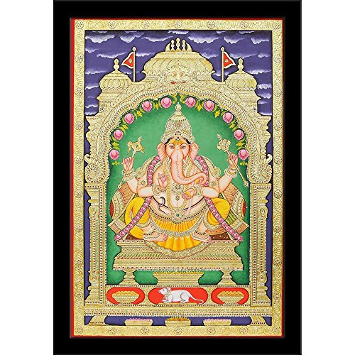 A&Z Homes Lord Ganesha Tanjore Style - SMALL Size 8inch x 11.5inch (20.3cms x 29.2cms) including 0.5 inch wide frame - SPECIAL EFFECTS Poster Painting with BLACK COLOUR FRAME: Digital Print Art Panel: Wall Décor Photo for Bedroom, Living Room, Dining Room, Kitchen, Office, Bathroom, Hotels & Reception : Religious : Fine Art Reprint  available at amazon for Rs.145