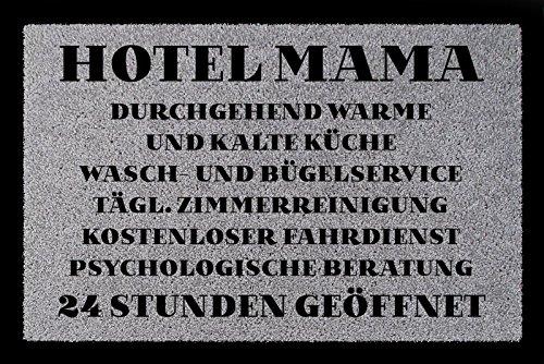 FUSSMATTE Türmatte HOTEL MAMA Muttertag Geschenk Spruch 60x40 cm Schmutzmatte Hellgrau