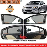 Autofact Half Magnetic Window Sunshades/Curtains for Hyundai Verna Fludic [Set of 4pc - Front 2pc Half Without Zipper ; Rear 2pc Full with Zipper] (Black)