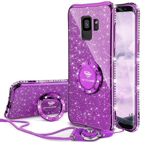 OCYCLONE Samsung Galaxy S9 Hülle Glitzer, Schutzhülle Galaxy S9 Hülle Mädchen Frauen, mit 360 Grad Ständer Ring Diamant Bling Samsung Galaxy S9 Handyhülle Glitzer, Lila