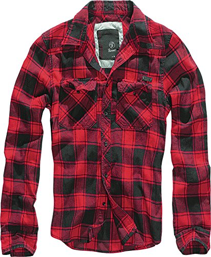 Brandit Check Shirt Herren Baumwoll Hemd L Red-black