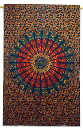 Blaue Mandala Tapestry Indian Cotton Tapestry Twin Größe Wandbehang Decor
