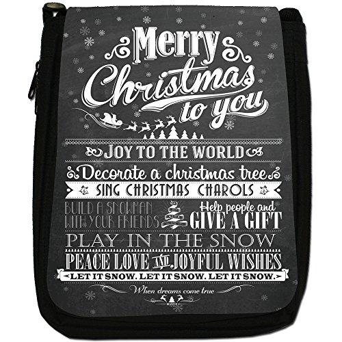 Nero con scritta Natale in stile Vintage, con tracolla, in tela, colore: nero, taglia: M Nero (Joy To The World Let It Snow)