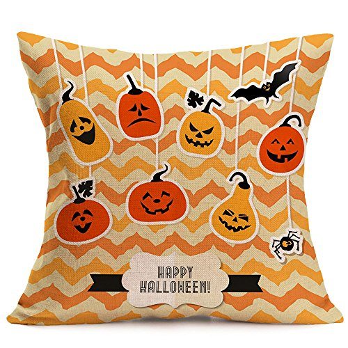 KonJin Sofa Bed Home Decoration Festival Throw Pillow Case Happy Halloween Pillow Cases Linen Cushion Cover 18x18 Inches