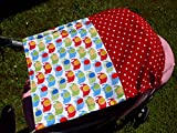 Sonnensegel UV-Schutz rot Punkte Elefanten Baby Kinderwagen
