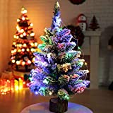 50cm Fibra Ottica Albero Di Natale Artificiale Pino Verde Con Neve LED Illuminato Albero Di Natale Luci Colorate Decorazioni Di Festa Base In Legno