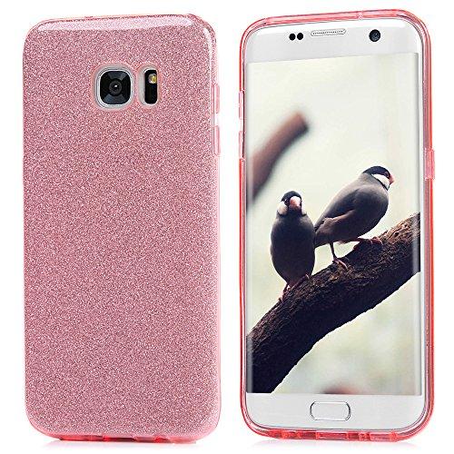 Mavis's Diary Case für Samsung Galaxy S7 Edge Hardcase Glanz Kristallklar TPU+Glitzerpapier+Frosted PC Shell Bling Tasche Durchsichtig Bumper Handycover Handyhülle Rosa