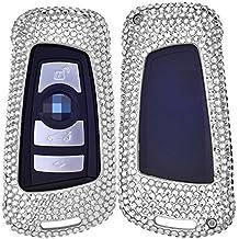 [M. Jvisun] Carcasa con llamativos diamantes hecha a mano para mando de entrada sin llave para BMW 1 Series 2 (Part) 3 / GT 4 5 6 Series X3 X4 M2 M3 M4 M5 M6, Carcasa de aluminio aeronáutico + llavero de cuero