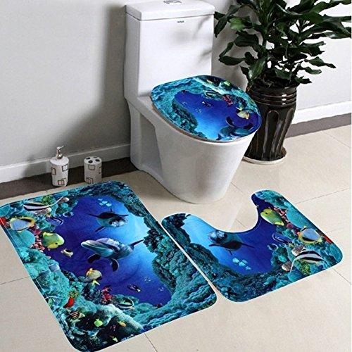 Mingpinhui tappetino da bagno, tappetino per bagno set 3pezzi antiscivolo da bagno lavabile coprisedile wc tappetino dolphins in the ocean