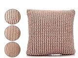takestop® Kissen Punkt Stoff geflochtene Stricken Wolle pink quadratisch 60x 60x 20cm 4Wege Möbel Sofa Design Lounge Wohnzimmer Schlafzimmer